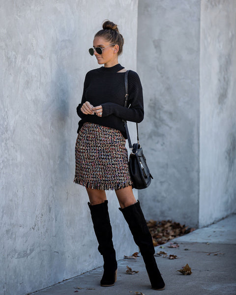 Twinkle And Dim Fringe Tweed Mini Skirt