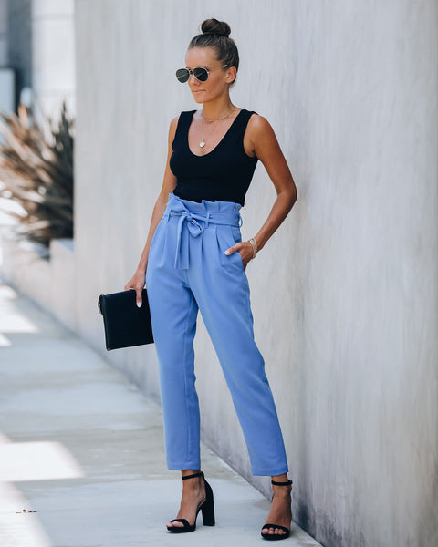 Regime Pocketed Paper Bag Waist Trousers - Marina Blue