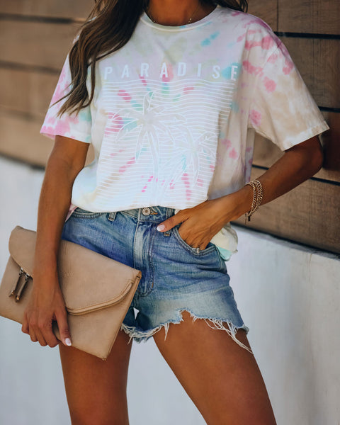 Palm Tree Paradise Tie Dye Cotton Tee