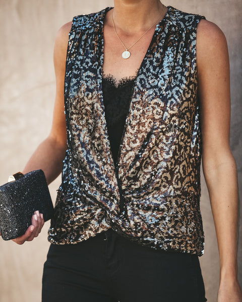 LA Nights Sequin Twist Tank - FINAL SALE
