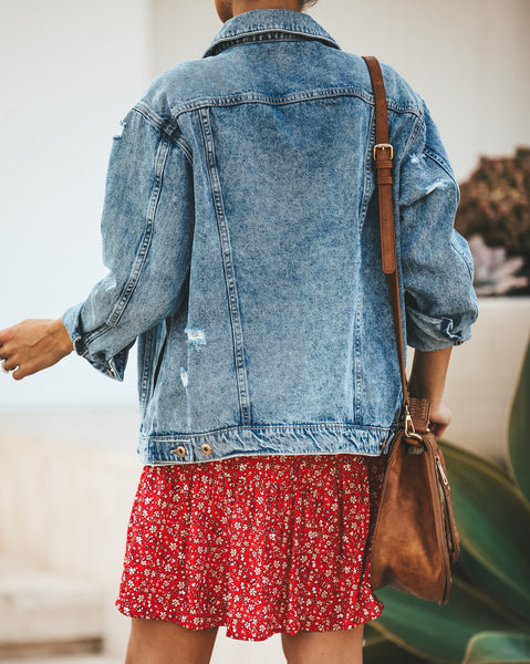 Dallas Distressed Pocketed Denim Jacket