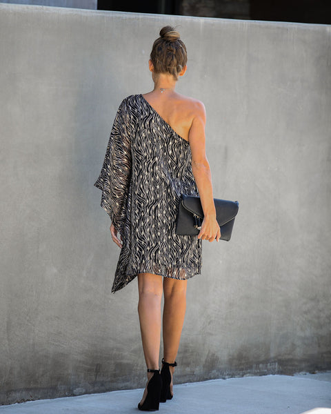 Rooftop At Sundown One Shoulder Statement Dress- FINAL SALE