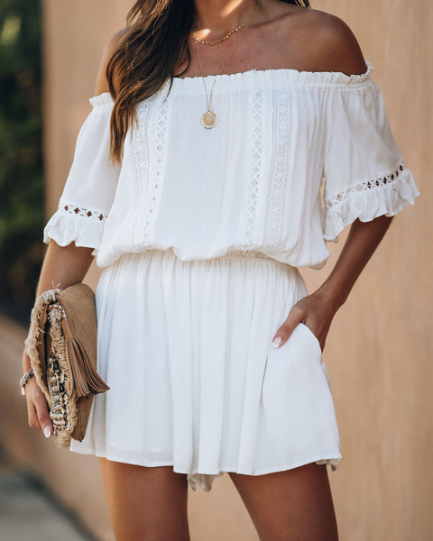 Linda Pocketed Off The Shoulder Crochet Romper