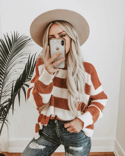 Modern Prep Cotton Striped Sweater - Brick