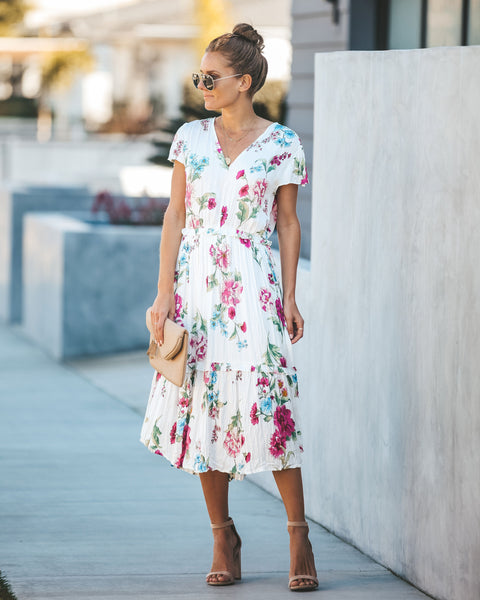Come Find Me Floral Crinkled Midi Dress