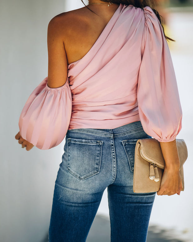 My Girl Satin One Shoulder Statement Blouse - Blush