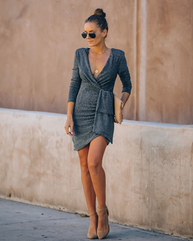 Simmer Down Metallic Drape Dress