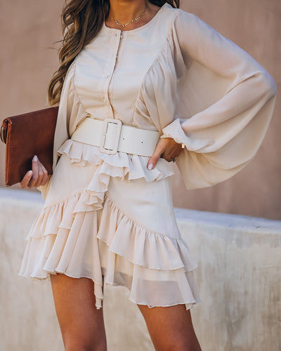 Almost Lover Belted Button Down Ruffle Dress
