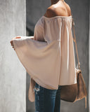 Arrison Off The Shoulder Bell Sleeve Tie Blouse - Ecru - FINAL SALE
