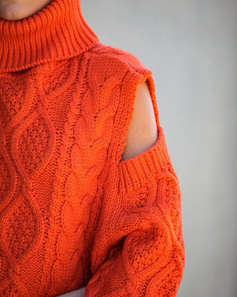 Hot And Cold Shoulder Turtleneck Sweater - Orange - FINAL SALE