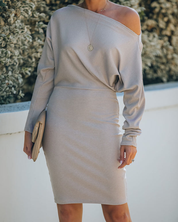Kelso Boat Neck Knit Dress - Beige - FINAL SALE view 3