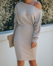 Kelso Boat Neck Knit Dress - Beige - FINAL SALE view 9