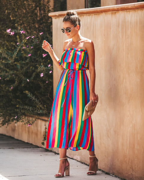 Circus Striped Strapless Jumpsuit