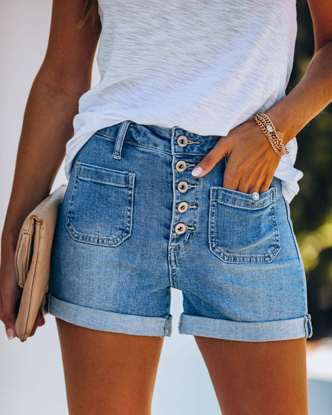 Dax High Rise Button Front Cuffed Denim Shorts