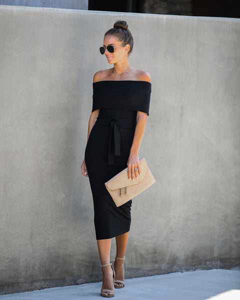 Top Secret Ribbed Off The Shoulder Dress - Black