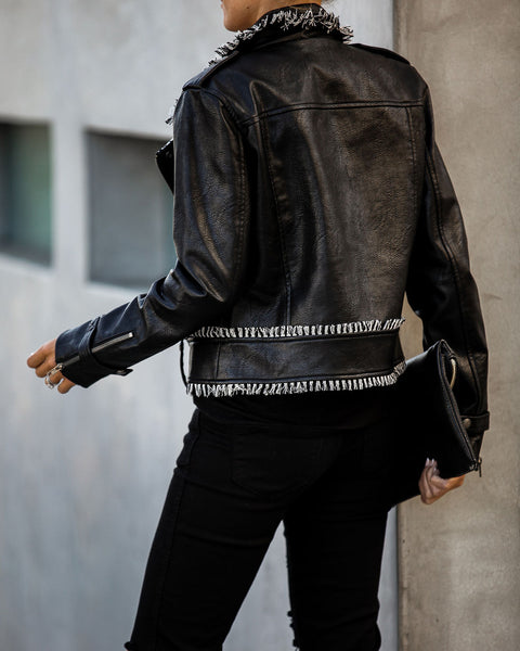 Rockstar Contrast Fringe Faux Leather Moto Jacket - FINAL SALE