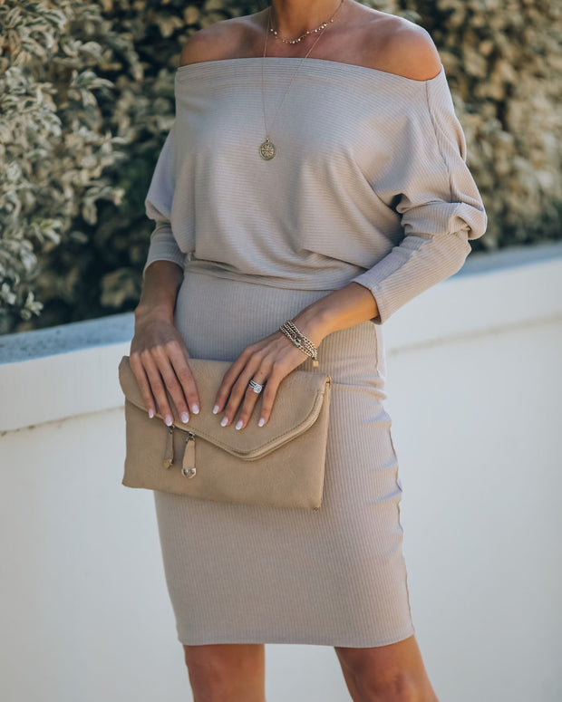 Kelso Boat Neck Knit Dress - Beige - FINAL SALE view 7