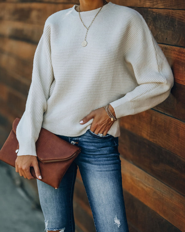 Heart Of Gold Ribbed Dolman Knit Sweater