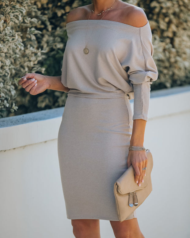 Kelso Boat Neck Knit Dress - Beige - FINAL SALE view 5