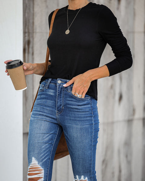 The Micro Rib Long Sleeve Top - Black - FINAL SALE