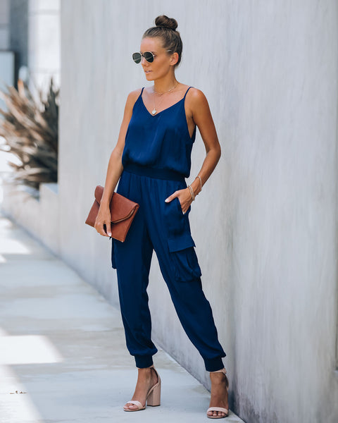 Moe Pocketed Cargo Jumpsuit - Navy