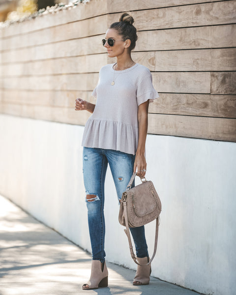 Cozy Cutie Thermal Peplum Top - Pearl Grey - FINAL SALE