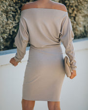 Kelso Boat Neck Knit Dress - Beige - FINAL SALE view 2