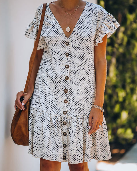 Zaya Polka Dot Button Down Ruffle Dress