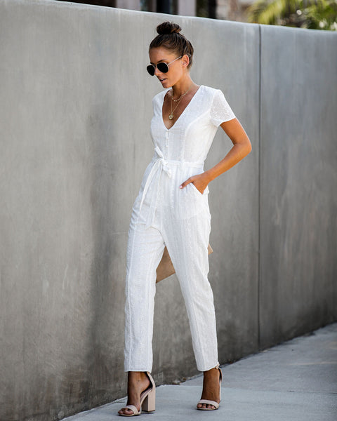 Feel At Ease Cotton Pocketed Embroidered Jumpsuit - FINAL SALE
