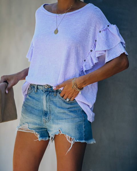 Monet Cotton Studded Ruffle Top - Lavender