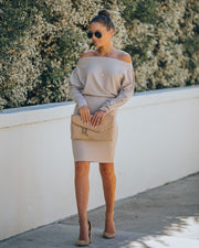 Kelso Boat Neck Knit Dress - Beige - FINAL SALE view 6