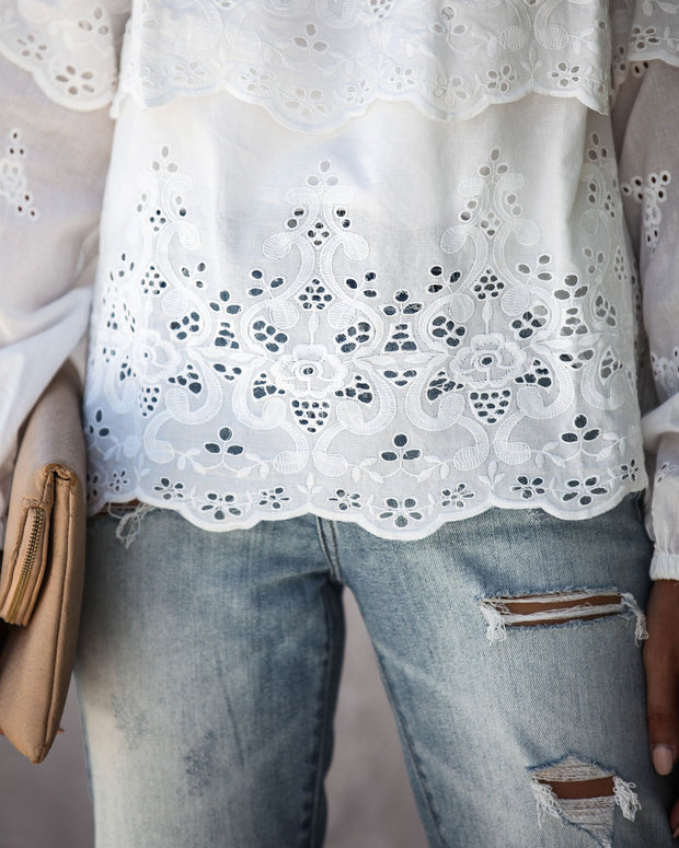 Take A Stroll Cotton Eyelet Top - FINAL SALE view 7