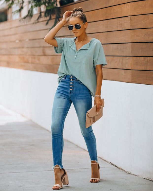 Sigh Cotton Blend Henley Tee - Washed Aqua