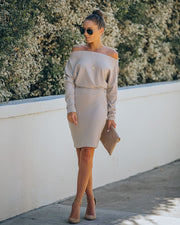 Kelso Boat Neck Knit Dress - Beige - FINAL SALE view 8