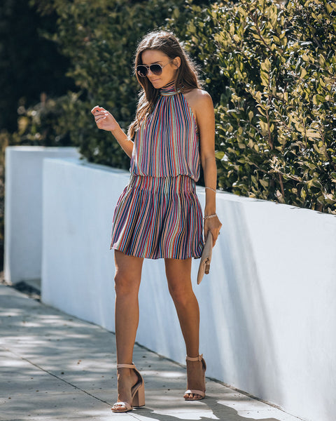 Last Hurrah Striped Mock Neck Dress