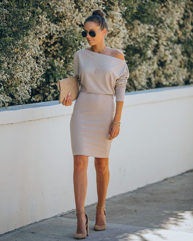 Kelso Boat Neck Knit Dress - Beige - FINAL SALE view 1