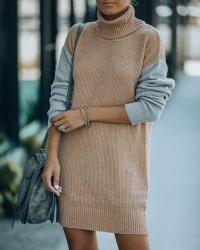 Layer Of Frost Colorblock Turtleneck Sweater Dress