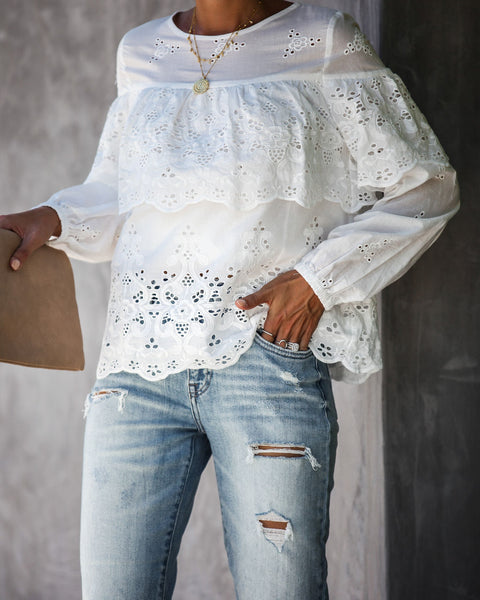 Take A Stroll Cotton Eyelet Top - FINAL SALE