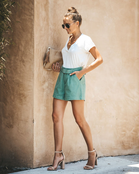 Here Comes Summer Cotton Pocketed Shorts - Sage - FINAL SALE