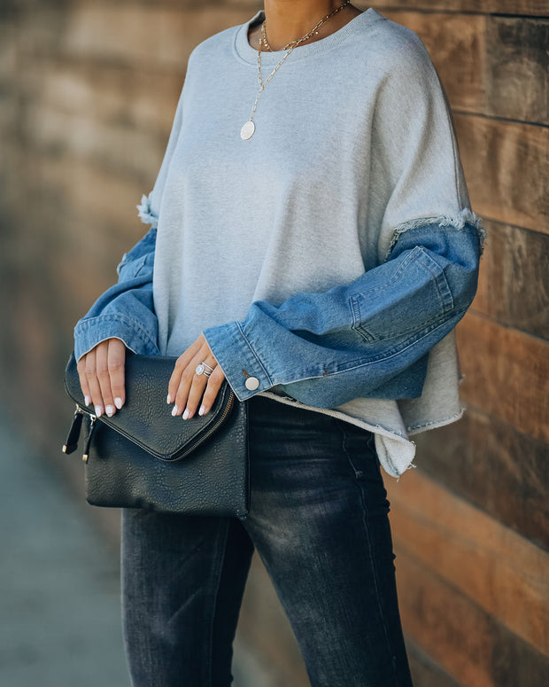 Lonna Denim Sleeve Distressed Cotton Pullover  - FINAL SALE