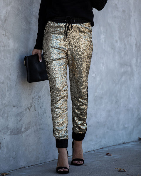Glitter Gang Sequin And Satin Joggers - Gold - FINAL SALE