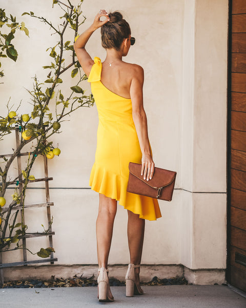 Posh Perfect One Shoulder Ruffle Asymm Dress - Yellow - FINAL SALE