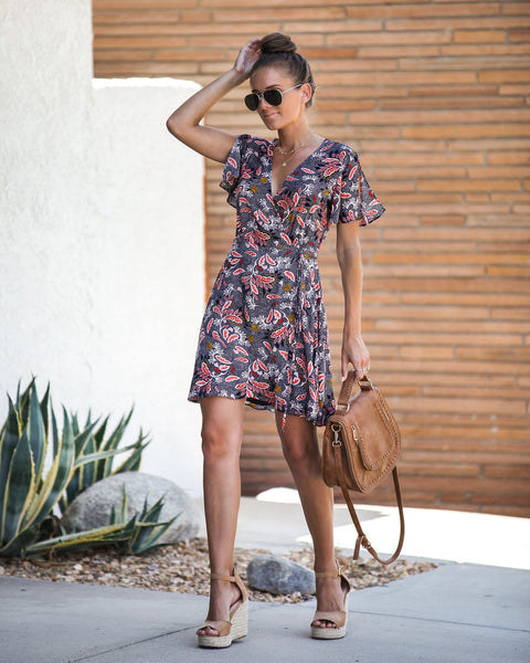 Speak With Style Printed Wrap Dress - FINAL SALE