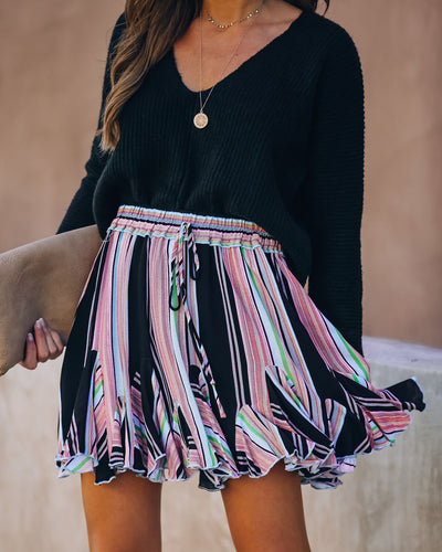 Montague Striped Ruffle Mini Skirt