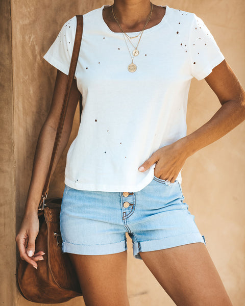 She's Got It All Cotton Distressed Tee - White