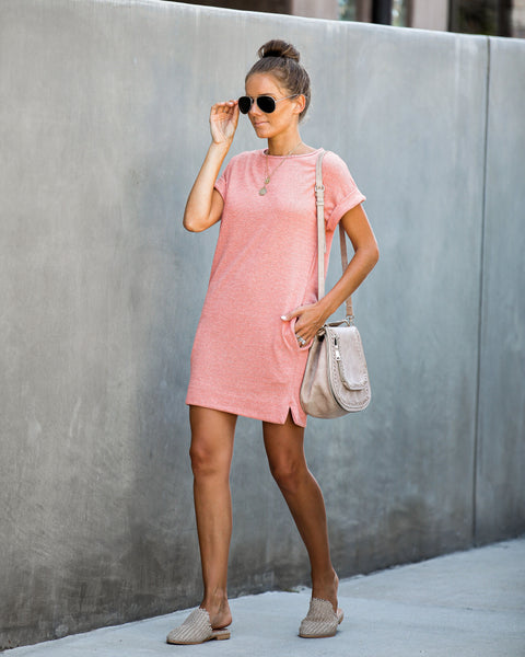 Framework Pocketed Knit Dress - Coral
