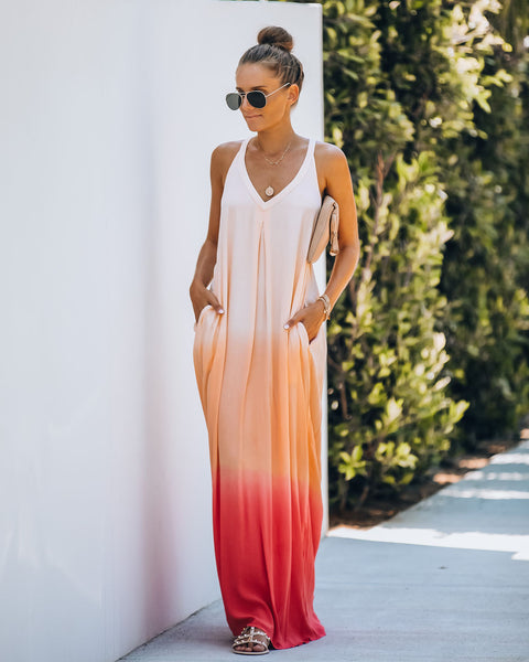 Sounds Of The Ocean Pocketed Ombre Maxi Dress - Coral