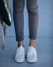 Montecito Faux Leather Perforated Sneakers - White