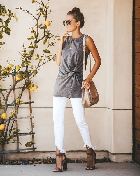 Twist Of Fate Cotton Tank - Charcoal