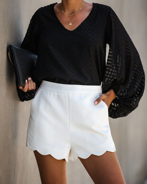 Tasteful Touch Pocketed Scalloped Shorts - Off White